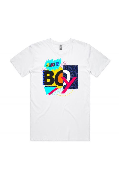 90's Mash Up White Tshirt by Baker Boy