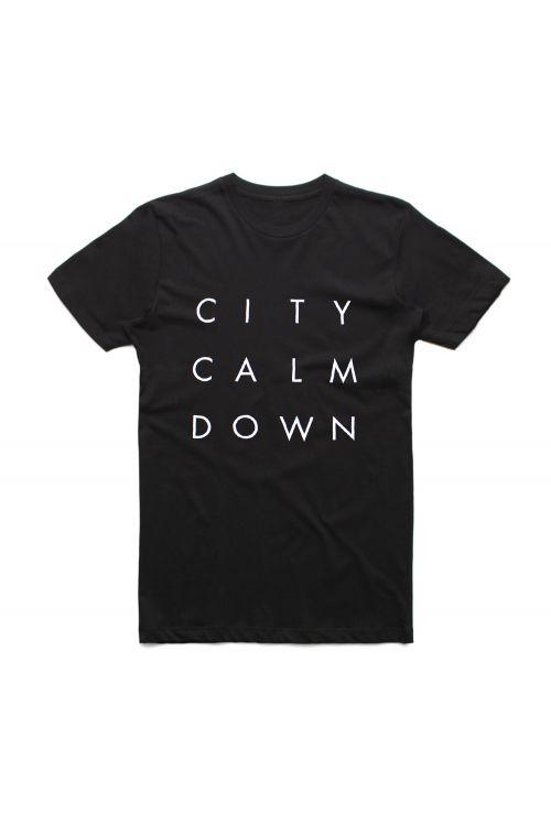 Straight Stack Black Tshirt (No Back Print) by City Calm Down