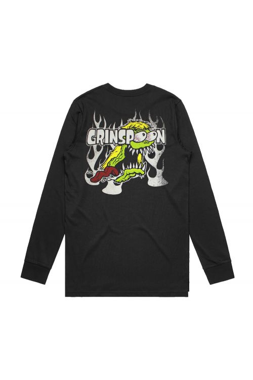 Flame Fink Long Sleeve Black Tshirt by Grinspoon