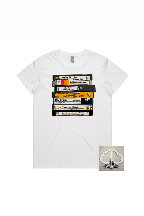 Unreleased 1998-2010 LP (Digital Download)/ VHS White Tshirt by Powderfinger