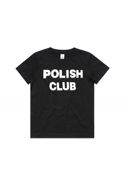 Classic Puffy Logo Black Kids Tshirt by Polish Club