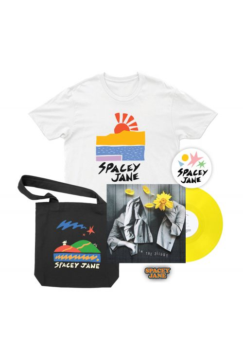 """In The Slight (EP) 10"""" Vinyl V2 Solid Yellow + Beach Sun White Tshirt, Star House Black Tote, Logo Pin + Shapes Sticker by Spacey Jane"""