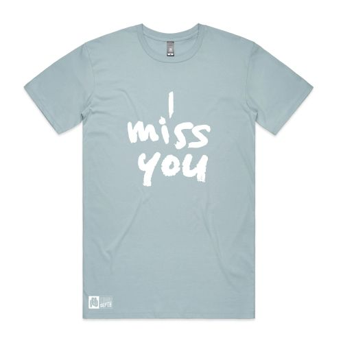 I Miss You pale blue tee by Thundamentals