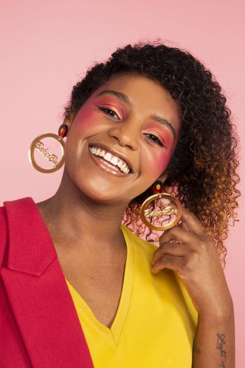 Earrings - Gold mirror hoop with ABORIGINAL FLAG stud by Baker Boy
