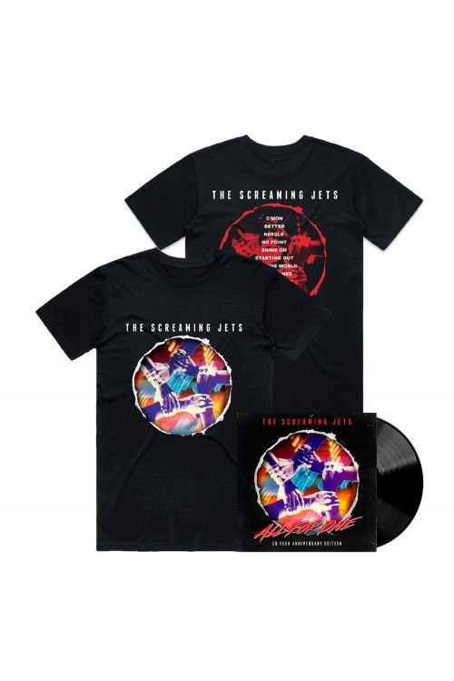 All For One - 30 Year Anniversary Edition Black Vinyl (LP) + Black Tshirt by The Screaming Jets
