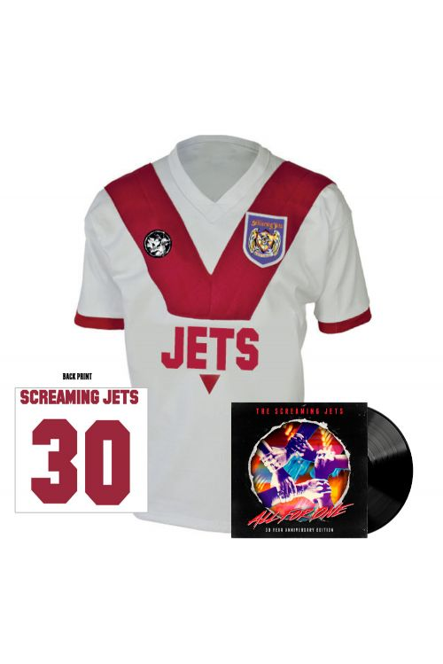 All For One - 30 Year Anniversary Edition Jersey (White/Red) + Black Vinyl by The Screaming Jets