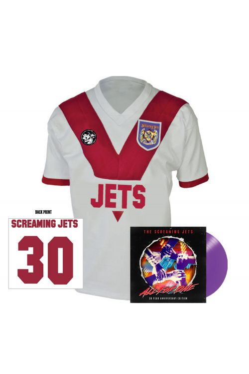 All For One - 30 Year Anniversary Edition Jersey (White/Red) + Purple Vinyl by The Screaming Jets