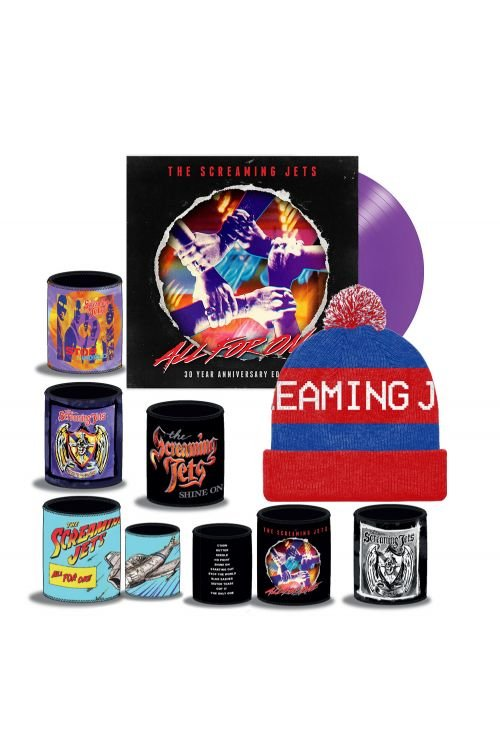 All For One - 30 Year Anniversary Edition Purple Vinyl (LP) + Blue/Red Beanie + Stubby Bundle Pack by The Screaming Jets
