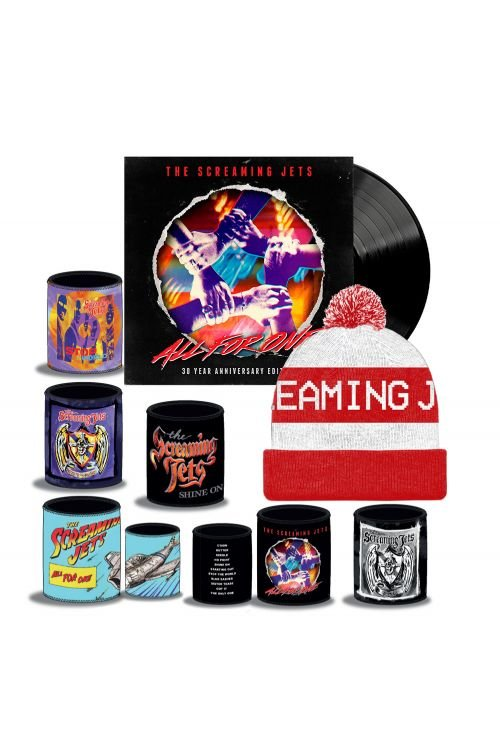 All For One - 30 Year Anniversary Edition Black Vinyl (LP) + White/Red Beanie + Stubby Bundle Pack by The Screaming Jets