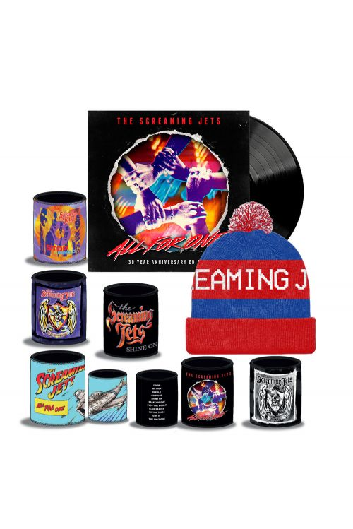 All For One - 30 Year Anniversary Edition Black Vinyl (LP) + Blue/Red Beanie + Stubby Bundle Pack by The Screaming Jets