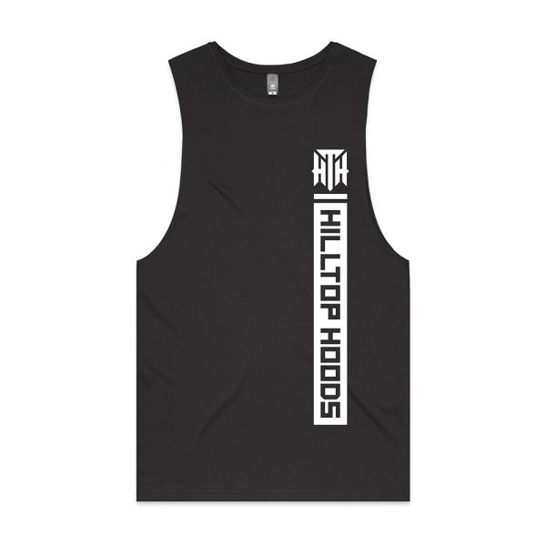POCKET STRIP UNISEX CHARCOAL TANK