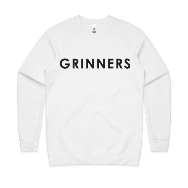 DR. GRINNERS LOGO UNISEX WHITE SWEATSHIRT