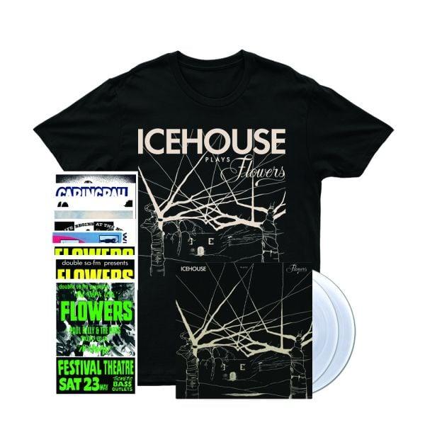 Icehouse Plays Flowers LP (Clear Vinyl)/ Tshirt/ Poster Set Bundle