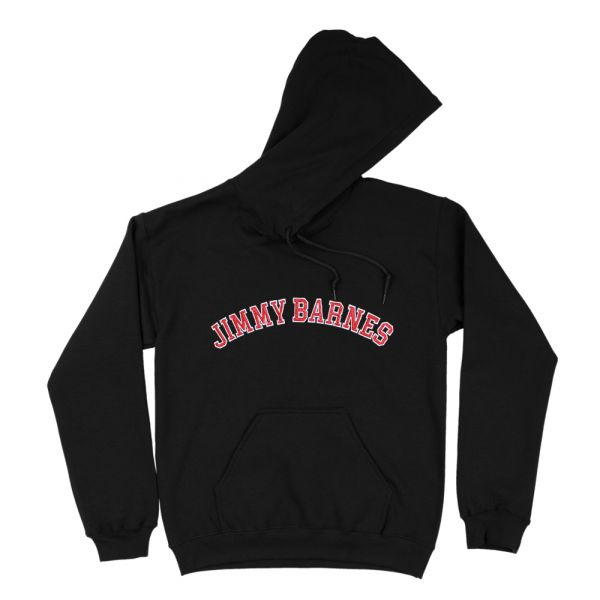 Jimmy Barnes Hoodie (Red + White Embroidery)