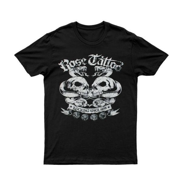 Rocking Since 1976 White Skulls Black Tshirt