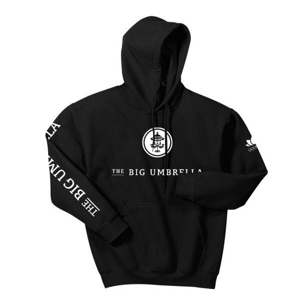White Logo Black Hoodie